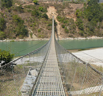 Bridge over a gorge, en route to Kathmandu