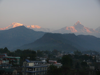 Himalayan sunrise from the hotel roof in Pokhara