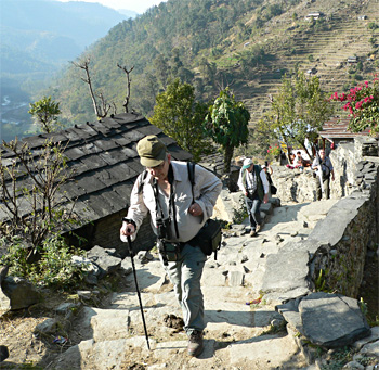 Trekking up the mountain
